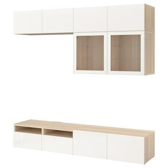 IKEA BESTÅ Kombinacja na TV/szklane drzwi, Dąb bejcowany na biało/Selsviken wysoki połysk biały szkło bezbarwne, 240x42x231 cm