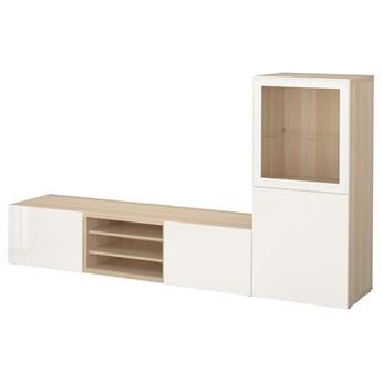 IKEA BESTÅ Kombinacja na TV/szklane drzwi, Dąb bejcowany na biało/Selsviken wysoki połysk biały szkło bezbarwne, 240x42x129 cm