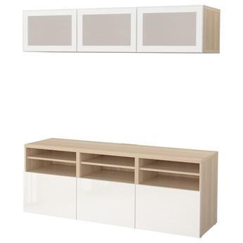 IKEA BESTÅ Kombinacja na TV/szklane drzwi, Dąb bejcowany na biało/Selsviken wysoki połysk biały szkło matowe, 180x42x192 cm