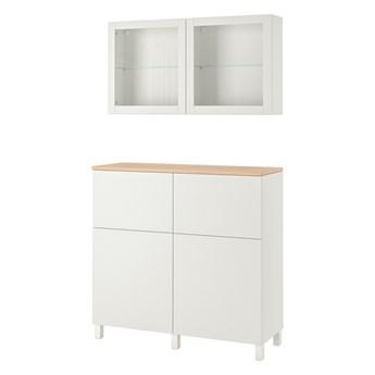 IKEA BESTÅ Kombinacja regałowa z drzw/szuf, Biały Lappviken/Sindvik/Stubbarp białe szkło przezroczyste, 120x42x240 cm