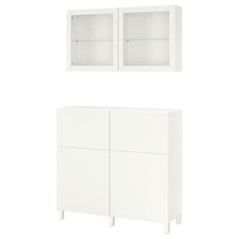 IKEA BESTÅ Kombinacja regałowa z drzw/szuf, Biały/Lappviken/Stubbarp białe szkło przezroczyste, 120x42x213 cm