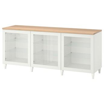 IKEA BESTÅ Kombinacja z drzwiami, Biały/Ostvik/Kabbarp białe szkło przezroczyste, 180x42x76 cm