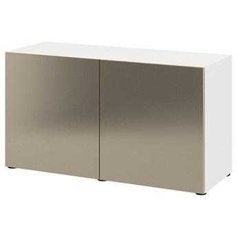 IKEA BESTÅ Kombinacja z drzwiami, Biały/Riksviken imitacja jasny brąz, 120x42x65 cm