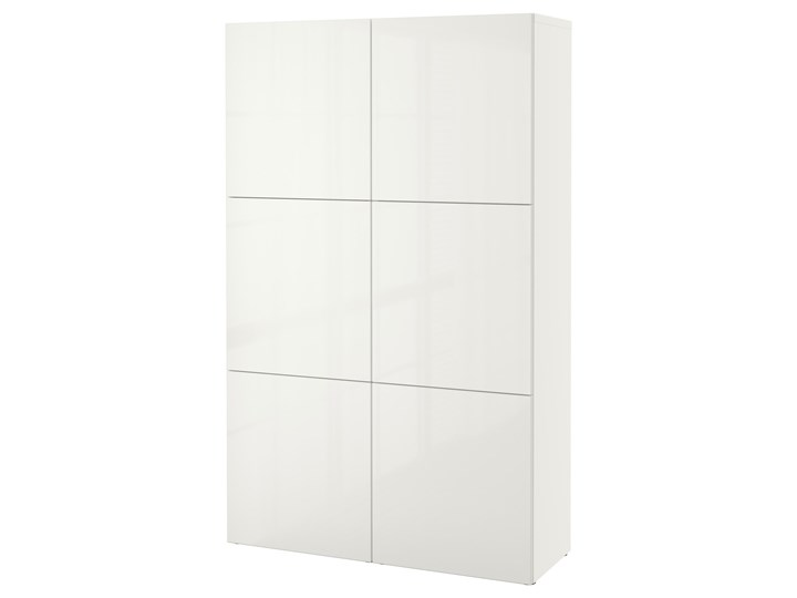 IKEA BESTÅ Kombinacja z drzwiami, Biały/Selsviken połysk/biel, 120x42x193 cm Szerokość 120 cm Płyta laminowana Głębokość 42 cm Typ Modułowa Rodzaj drzwi Uchylne