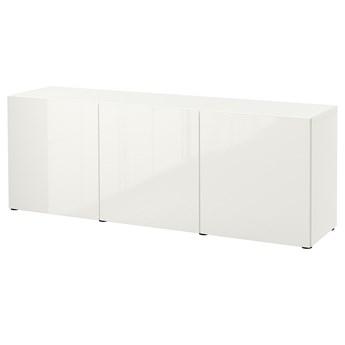 IKEA BESTÅ Kombinacja z drzwiami, Biały/Selsviken połysk/biel, 180x42x65 cm