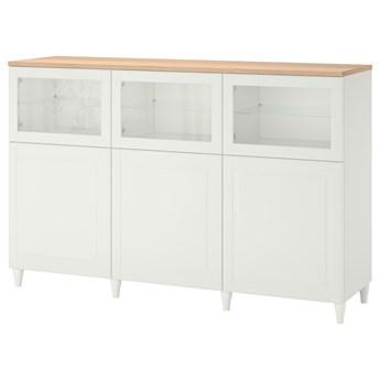 IKEA BESTÅ Kombinacja z drzwiami, Biały/Smeviken/Kabbarp białe szkło przezroczyste, 180x42x114 cm