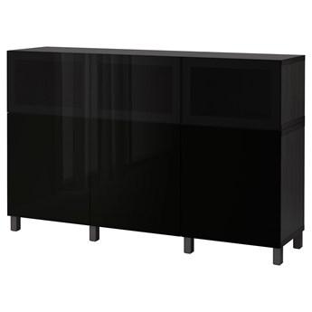 IKEA BESTÅ Kombinacja z drzwiami, Czarnobrąz Selsviken/Glassvik wysoki połysk/czarny dymione szkło, 180x42x112 cm