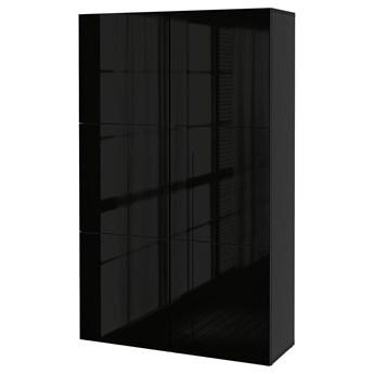 IKEA BESTÅ Kombinacja z drzwiami, Czarnybrąz/Selsviken połysk/czarny, 120x42x193 cm