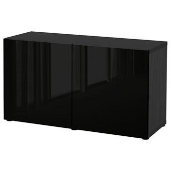 IKEA BESTÅ Kombinacja z drzwiami, Czarnybrąz/Selsviken połysk/czarny, 120x42x65 cm