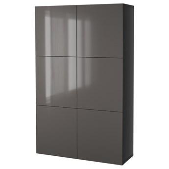 IKEA BESTÅ Kombinacja z drzwiami, Czarnybrąz/Selsviken połysk/szary, 120x40x192 cm