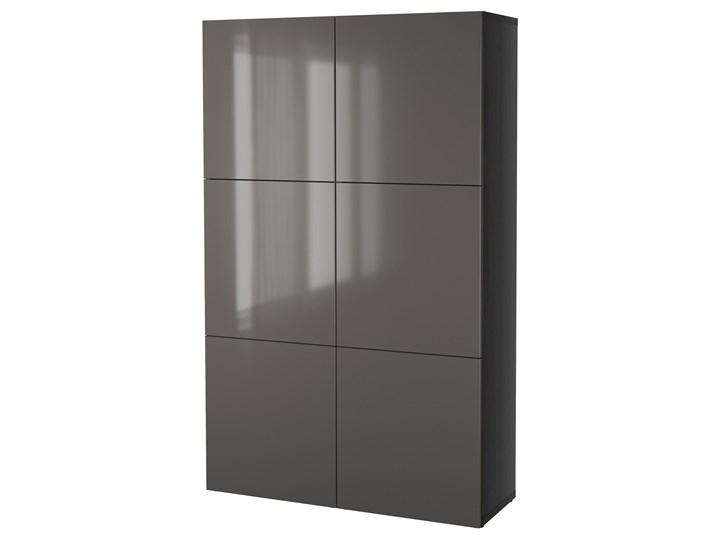 IKEA BESTÅ Kombinacja z drzwiami, Czarnybrąz/Selsviken połysk/szary, 120x40x192 cm Płyta laminowana Rodzaj drzwi Uchylne