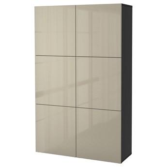 IKEA BESTÅ Kombinacja z drzwiami, Czarnybrąz/Selsviken wysoki połysk beż, 120x42x193 cm
