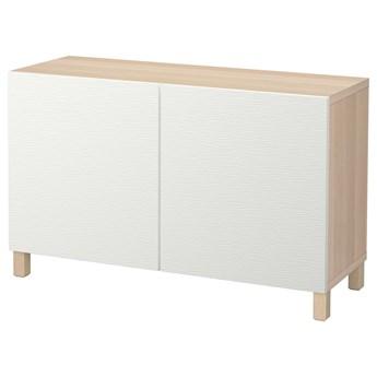 IKEA BESTÅ Kombinacja z drzwiami, Dąb bejcowany na biało/Laxviken/Stubbarp biały, 120x42x74 cm