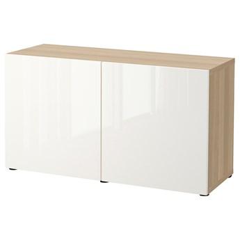 IKEA BESTÅ Kombinacja z drzwiami, Dąb bejcowany na biało/Selsviken połysk/biel, 120x42x65 cm