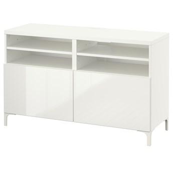 IKEA BESTÅ Ława TV z drzwiami, Biały/Selsviken/Nannarp połysk/biel, 120x42x74 cm