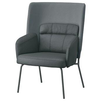 IKEA BINGSTA Fotel z wysokim oparciem, Vissle ciemnoszary/Kabusa ciemnoszary, Szerokość: 70 cm