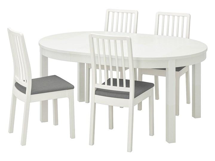 IKEA BJURSTA / EKEDALEN Stół i 4 krzesła, biały/Orrsta jasnoszary, 115 cm