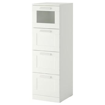 IKEA BRIMNES Komoda, 4 szuflady, biały/szkło matowe, 39x124 cm