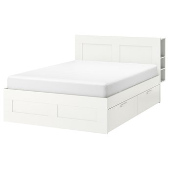 IKEA BRIMNES Rama łóżka z pojemnikiem, zagłówek, biały/Leirsund, 160x200 cm