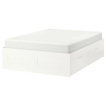 IKEA BRIMNES Rama łóżka z szufladami, biały/Lönset, 160x200 cm