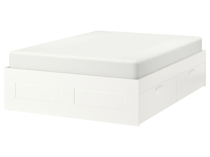 IKEA BRIMNES Rama łóżka z szufladami, biały/Luröy, 140x200 cm Tkanina Łóżko drewniane Kategoria Łóżka do sypialni