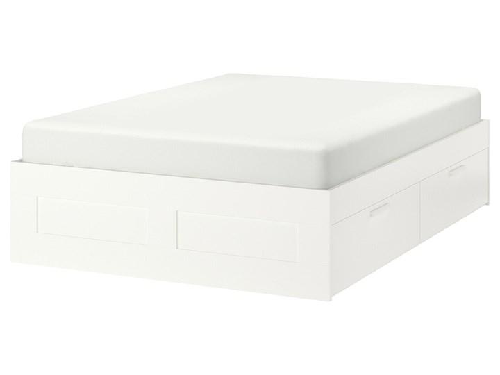 IKEA BRIMNES Rama łóżka z szufladami, biały, 140x200 cm Łóżko drewniane Tkanina Kategoria Łóżka do sypialni