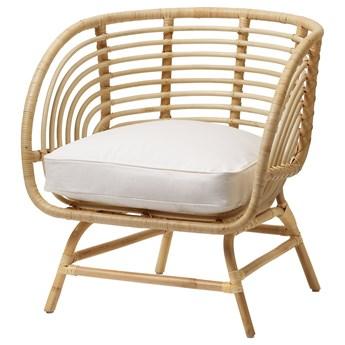IKEA BUSKBO Fotel, rattan/Djupvik biały, Wysokość oparcia: 42 cm
