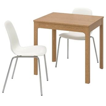 IKEA EKEDALEN / LEIFARNE Stół i 2 krzesła, dąb/biały, 80/120 cm
