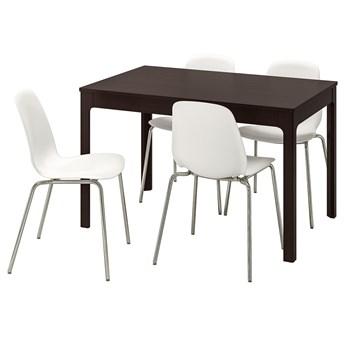 IKEA EKEDALEN / LEIFARNE Stół i 4 krzesła, ciemnobrązowy/biały, 120/180 cm