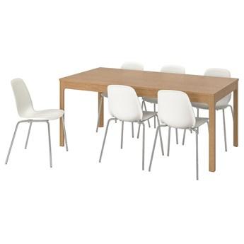 IKEA EKEDALEN / LEIFARNE Stół i 6 krzeseł, dąb/biały, 180/240 cm