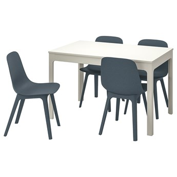 IKEA EKEDALEN / ODGER Stół i 4 krzesła, biały/niebieski, 120/180 cm