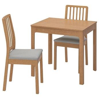 IKEA EKEDALEN / EKEDALEN Stół i 2 krzesła, dąb/Orrsta jasnoszary, 80/120 cm