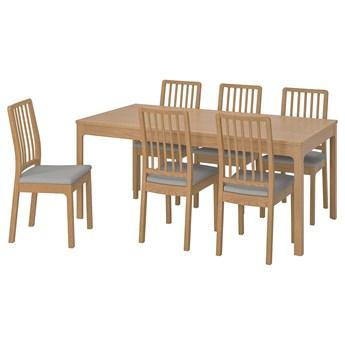 IKEA EKEDALEN / EKEDALEN Stół i 6 krzeseł, dąb/Orrsta jasnoszary, 180/240 cm