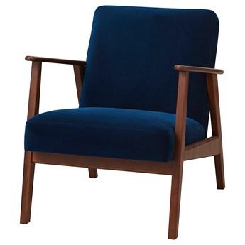 IKEA EKENÄSET Fotel, Djuparp ciemnozielononiebieski, Wysokość z poduchami oparcia: 75 cm