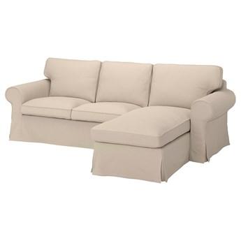 IKEA EKTORP Sofa 3-osobowa z szezlongiem, Hallarp beżowy, Szerokość: 252 cm