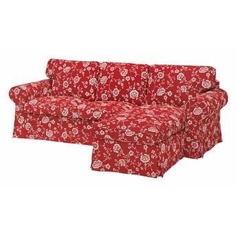 IKEA EKTORP Sofa 3-osobowa z szezlongiem, Virestad czerwony/biały, Szerokość: 252 cm