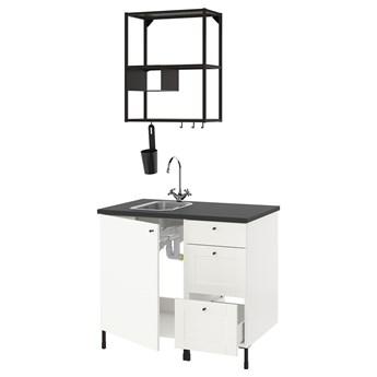 IKEA ENHET Kuchnia, antracyt/biały rama, 103x63.5x222 cm