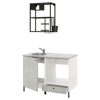 IKEA ENHET Kuchnia, antracyt/imitacja betonu, 123x63.5x222 cm