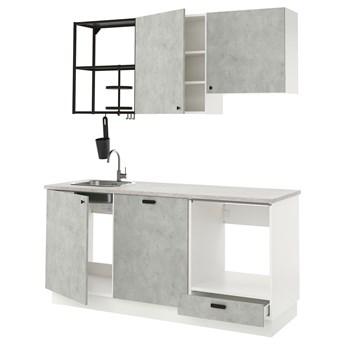 IKEA ENHET Kuchnia, antracyt/imitacja betonu, 183x63.5x222 cm