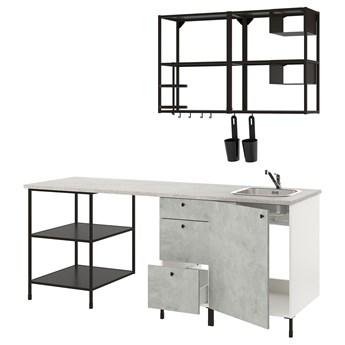 IKEA ENHET Kuchnia, antracyt/imitacja betonu, 223x63.5x222 cm