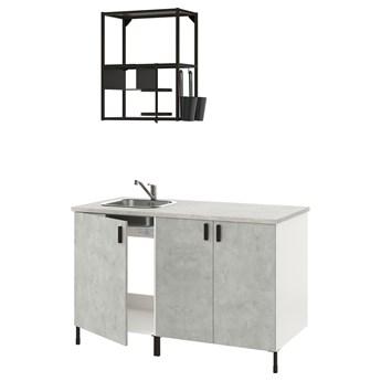 IKEA ENHET Kuchnia, antracyt/imitacja betonu, 143x63.5x222 cm