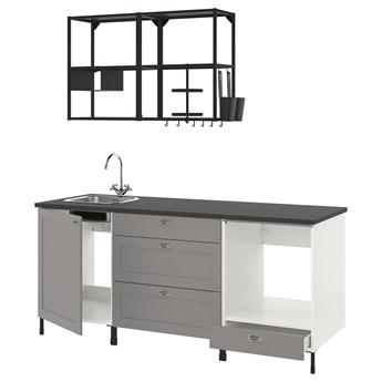 IKEA ENHET Kuchnia, antracyt/szary rama, 203x63.5x222 cm