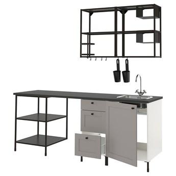 IKEA ENHET Kuchnia, antracyt/szary rama, 223x63.5x222 cm