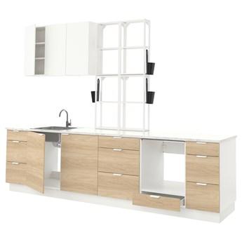 IKEA ENHET Kuchnia, biały/imit. dębu biały, 323x63.5x241 cm