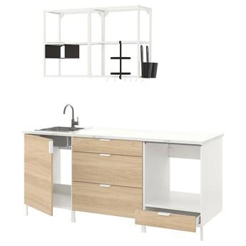 IKEA ENHET Kuchnia, biały/imit. dębu, 203x63.5x222 cm
