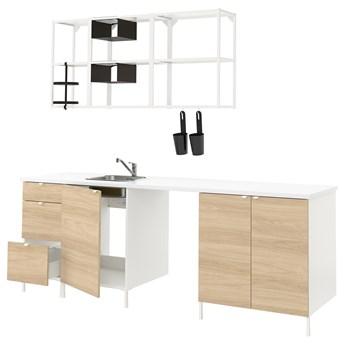 IKEA ENHET Kuchnia, biały/imit. dębu, 243x63.5x222 cm