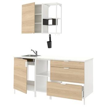 IKEA ENHET Kuchnia, biały/imit. dębu, 183x63.5x222 cm