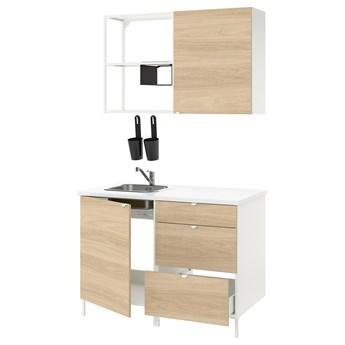 IKEA ENHET Kuchnia, biały/imit. dębu, 123x63.5x222 cm