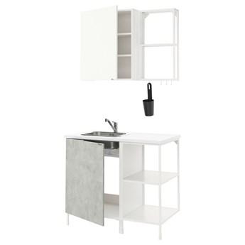 IKEA ENHET Kuchnia, biały/imitacja betonu biały, 103x63.5x222 cm