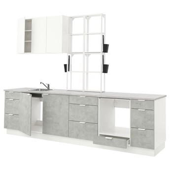 IKEA ENHET Kuchnia, biały/imitacja betonu biały, 323x63.5x241 cm